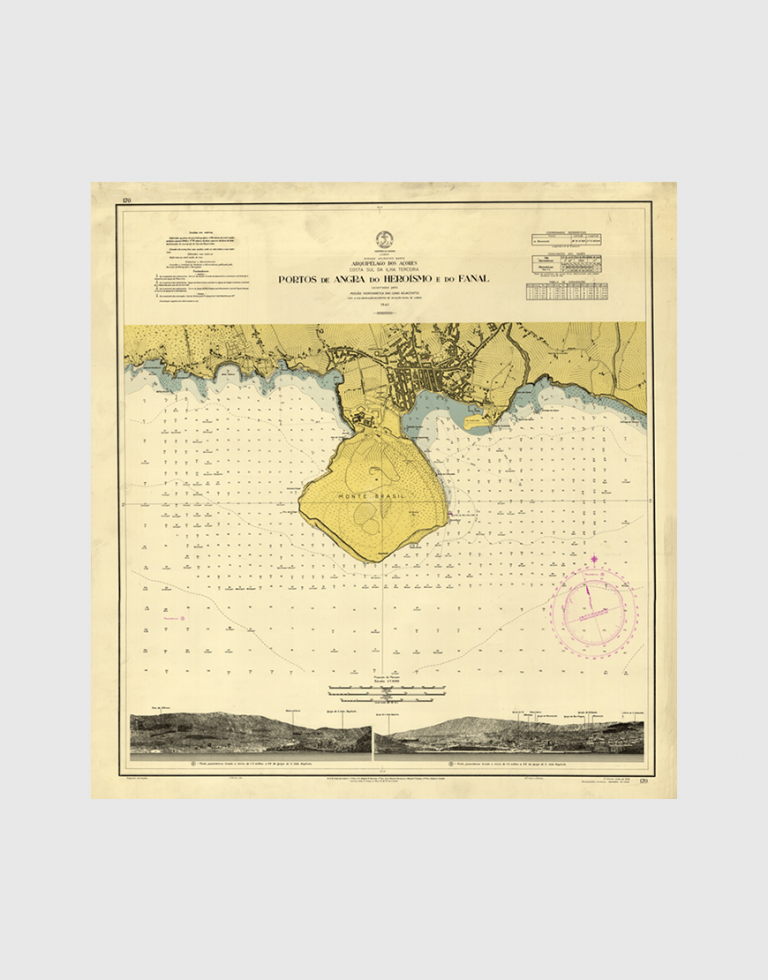 Carta de 1962 – Arquipélago dos Açores – Costa Sul da Ilha Terceira, Portos de Angra do Heroísmo e do Fanal