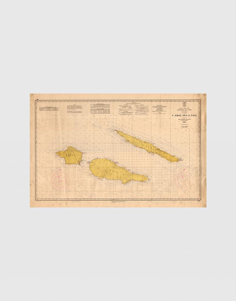 Carta de 1963 – Arquipélago dos Açores – Grupo Central – S. Jorge, Pico e Faial