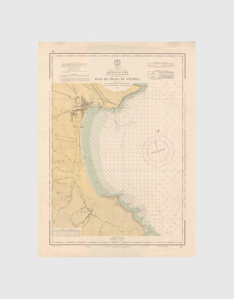 Carta de 1961 – Arquipélago dos Açores – Costa Leste da Ilha Terceira, Baía da Praia da Vitória