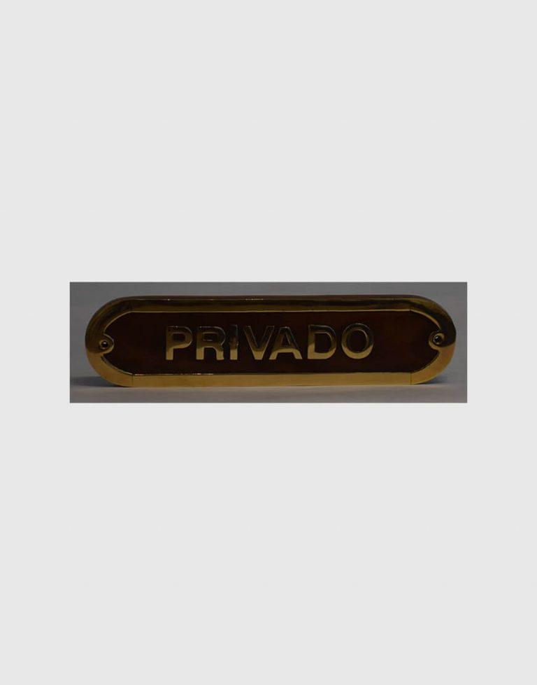 """Placa para porta """"Privado"""""""